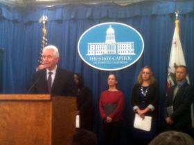 Dr. Cameron Carter with the UC Davis Medical Center speaks at a news conference at the State Capitol Thursday.