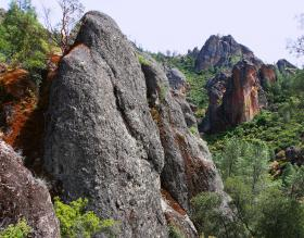 Pinnacles National Park is located about 140 miles east of Fresno. It was originally protected in 1908 by Theodore Roosevelt.