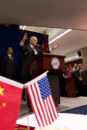 California Governor Jerry Brown addresses a crowd in China