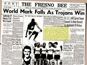 The May 15, 1938 edition of The Fresno Bee featured a photo and story about Jack Robinson's performance at the West Coast Relays