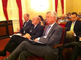 Top Brown Administration officials wait to testify at a State Senate hearing on the Bay Delta Conservation Plan.  From left: Charlton Bonham (Director,  Dept. of Fish & Wildlife), John Laird (Secretary of Natural Resources) & Mark Cowin (Director, Dept. of Water Resources).