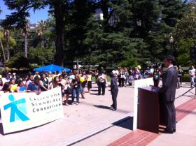 Calif. State Sen. Mark Leno (D-San Francisco) speaks at a rally to restore funding for after school programs at the Capitol Tuesday.
