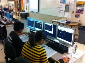 Mechanical engineering students at Monterey Trail High School in the Sacramento suburb of Elk Grove participate in a computer-aided design drafting exercise.