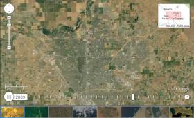 A screen capture of a satellite based timelapse of Fresno's suburban growth from 1984 - 2012
