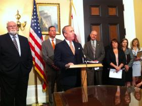 Senate President pro Tem Darrell Steinberg (D-Sacramento) discusses his proposals to increase crisis access to mental health services at a Capitol news conference Tuesday.