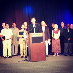 Proposition 8 supporters gathered at the Cornerstone Church in downtown Fresno and vowed to defend traditional marriage.