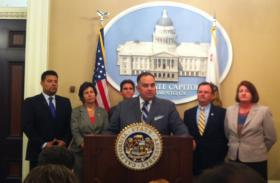 Assembly Speaker John Pérez (D-Los Angeles) and members of the California Legislature's LGBT Caucus react to Wednesday's U.S. Supreme Court rulings on same-sex marriage at the State Capitol.