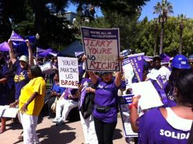 SEIU Local 1000 members rally for pay raises at the State Capitol