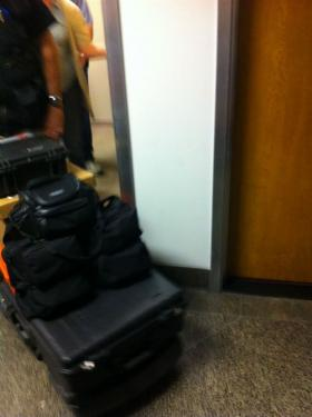 FBI agents exit the Capitol office of Calif. Sen. Ron Calderon (D-Montebello) Tuesday night, removing boxes and black bags.