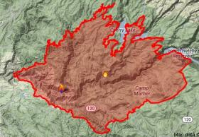 A map of the area burned by the Rim Fire as of Tuesday morning August 27