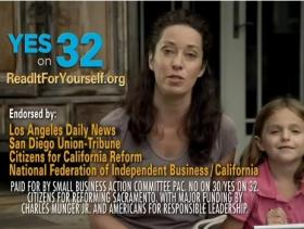 "A ""No on Prop 32"" TV ad paid for by the Small Business Action Committee in the Fall 2012 campaign."