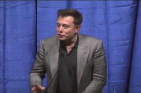 Tesla Motors CEO Elon Musk, speaking at CSU Bakersfield on Wednesday night.