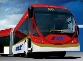 The new proposal for Fresno's BRT line will feature conventional buses, not articulated models as shown in this illustration (file photo)