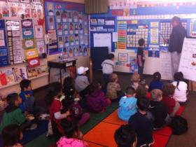 Students in a transitional kindergarten class at H.W. Harkness Elementary School in Sacramento.