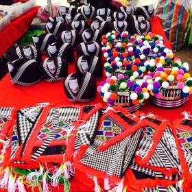 A selection of different Hmong hats that females wear with the Hmong clothes. #iamhmong