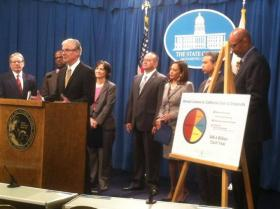 Tom Torlakson, California's Superintendent of Public Instruction speaks at a news conference announcing the truancy legislation on Monday