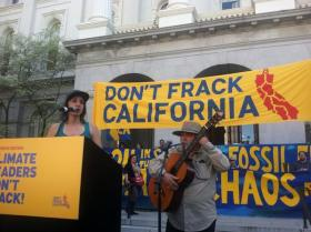 "Environmental activists rallied at the state Capitol to protest ""fracking"""