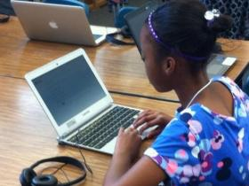 Sacramento fourth grader Aanyah Jacobs practices California's new student assessment.