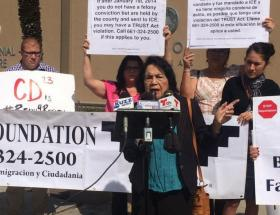 UFW co-founder Dolores Huerta speaks at a protest Wednesday outside the office of Kern County Sheriff Donny Youngblood