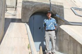 The entry way to into Friant Dam, which can hold over 500,000 acre feet of water in Millerton Lake, is a little gray door.