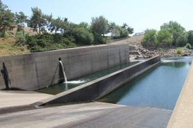 The San Joaquin this year is primarily filled from a continuous flow from an 18 inch pipe.