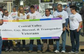 Coffee among others in Porterville's first LGBT veterans troop in the Porterville Veterans Parade.