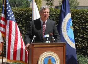 U.S. Agriculture Secretary Tom Vilsack announced $9.7 million in emergency water funding for 25 communities in California on Friday at an event in Farmersville.
