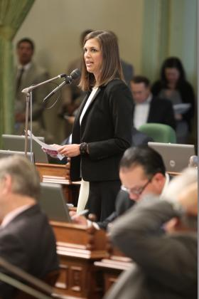 California Assembly Republicans have chosen a new woman to lead them, Modesto's Kristin Olsen. (file photo)