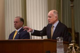 California Governor Jerry Brown called for renewed support for his Sacramento-San Joaquin Delta tunnel plan