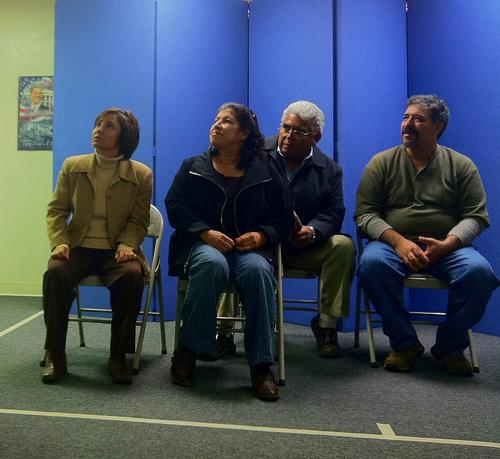 "Actors from the cast of Teatro de la Tierra's original production ""The Weight of Things"" rehearse at the Unitarian Church of Fresno in Clovis, CA, November 10, 2011."