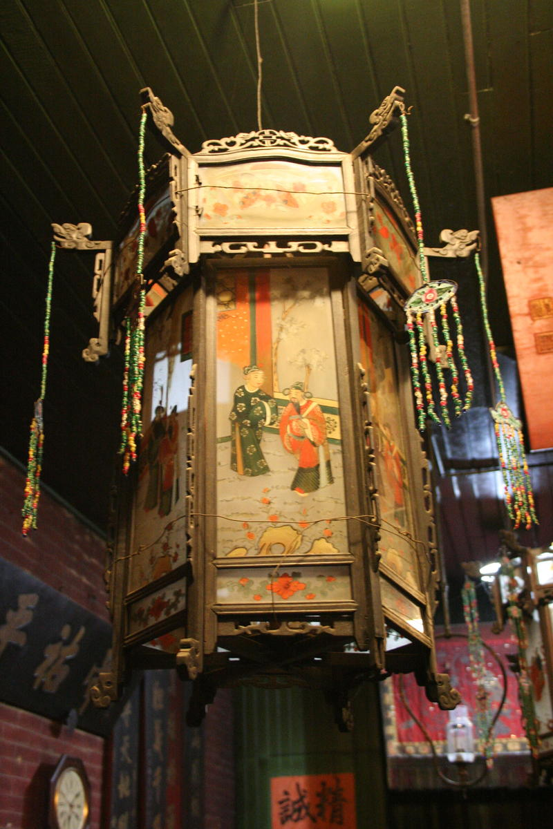 A lantern in Hanford's historic Taoist Temple