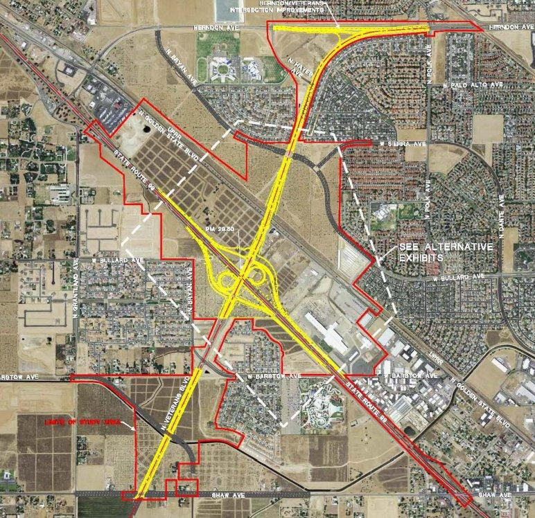 A preliminary map of the Veterans Boulevard interchange at Highway 99 in north Fresno.