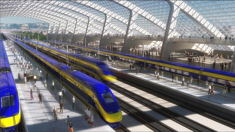 Artists rendering of a station for the state's planned high speed rail system.
