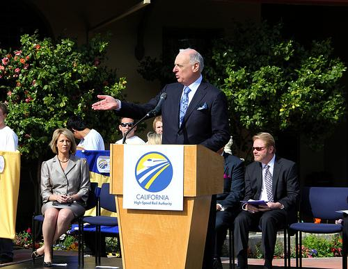 California High Speed Rail Authority Chairman Dan Richard addresses an audience in Fresno on April 3, 2012.