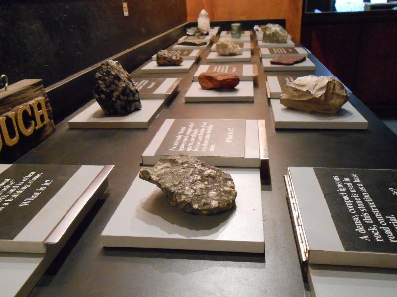 "A ""hands-on"" display at the museum is designed to teach children about geology."