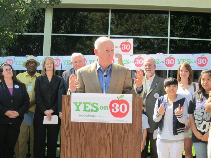 Governor Jerry Brown speaks at a rally for Proposition 30, August 16, 2012
