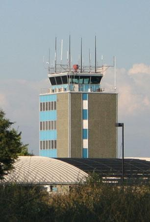 The control tower at Fresno Yosemite International Airport.