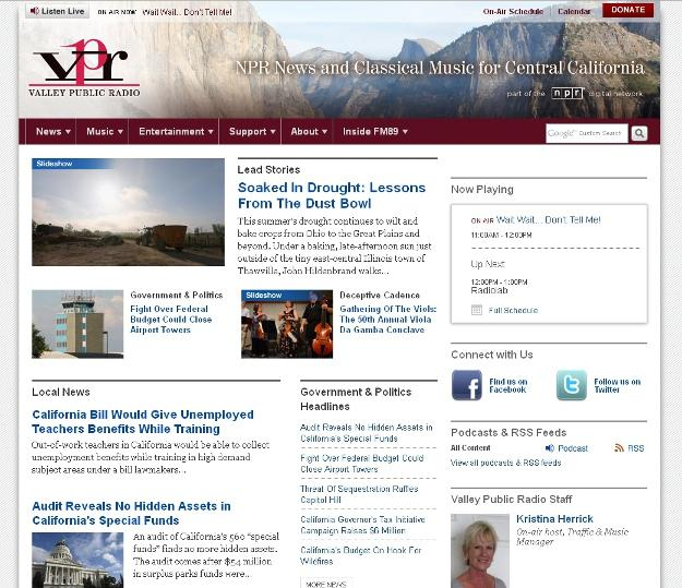 The new KVPR.org has a clean look and lots of news content from the station's local reporters and from NPR.