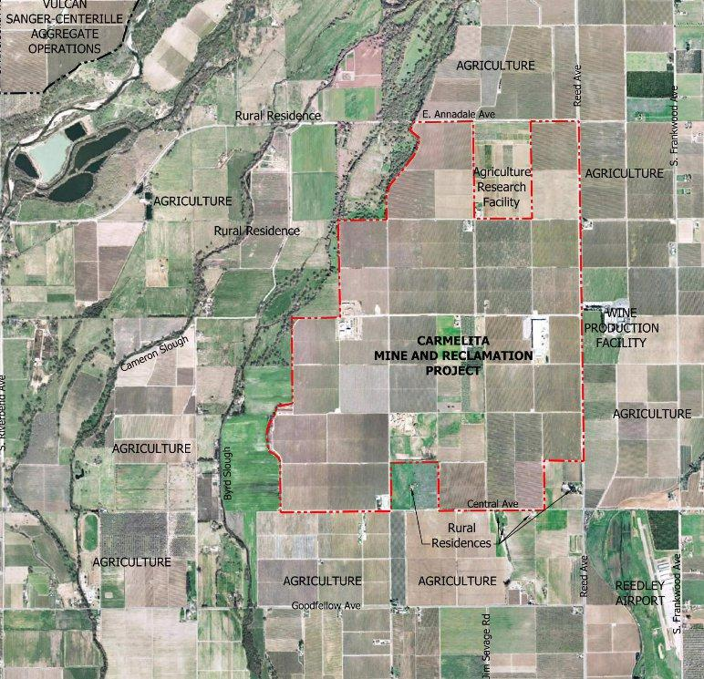 A map of the proposed Carmelita Project site.
