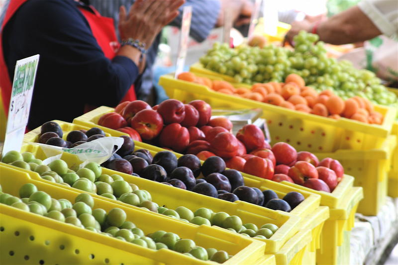 Fruit from Valley farms makes for a colorful scene at a farmer's market in downtown Fresno.