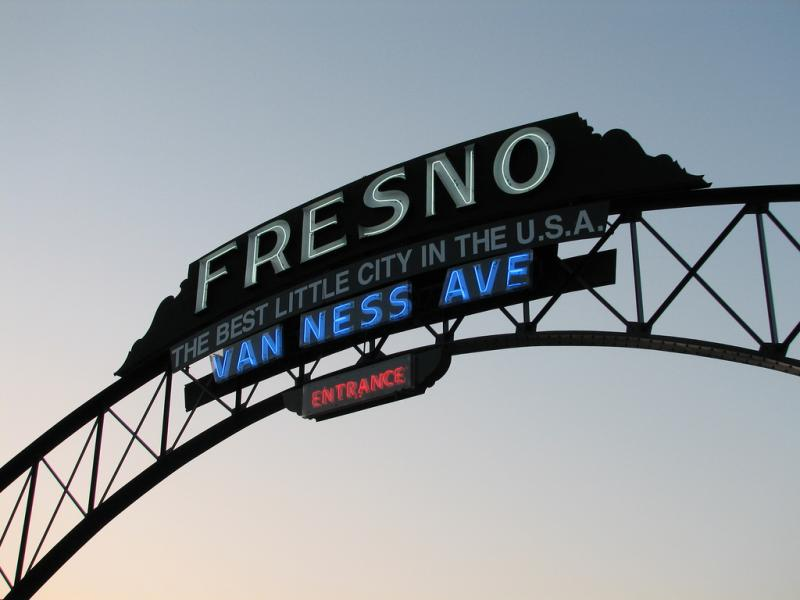 The historic Fresno arch was contructed over Van Ness Avenue at Highway 99