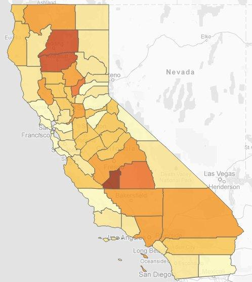 A map from the California Sentencing Institute details the number of inmates counties sent to state prison in 2010