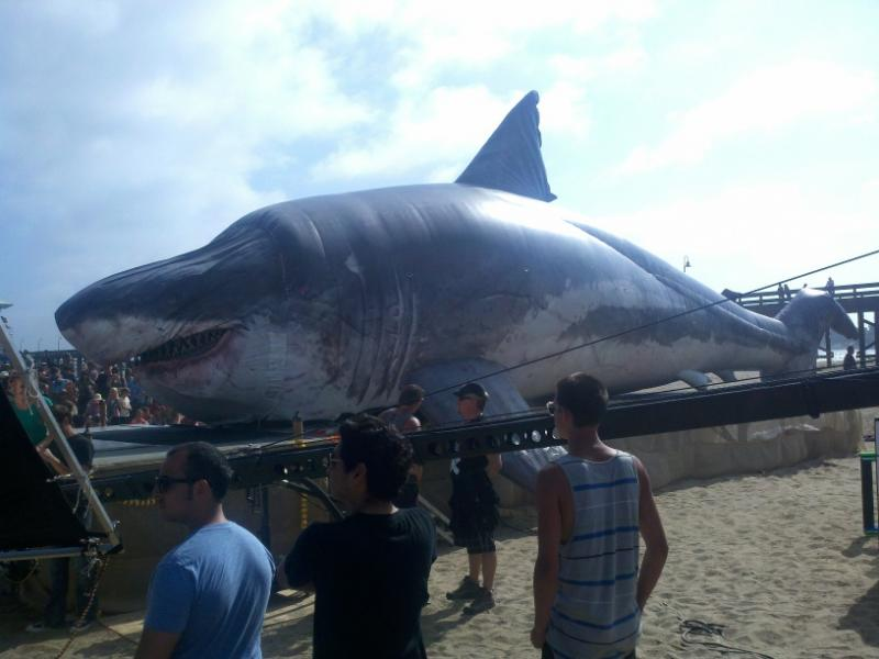 The Discovery Channel's Sharkzilla, a 58 foot model of the Megalodon found at Bakersfield's Shark Tooth Hill sits on the beach at Ventura, CA.