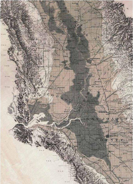 The Delta and Central Valley wetlands as mapped in 1887. The broader wetlands of the Sacramento Valley contrast with the narrower corridor along the San Joaquin River south of the Delta. (Hall 1887)