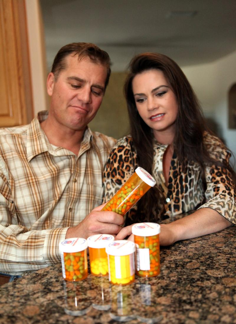 Just the sight of the myriad medications Todd Schaefer must take for his valley fever makes him feel ill. A side-effect of the medications is nausea and vomiting.