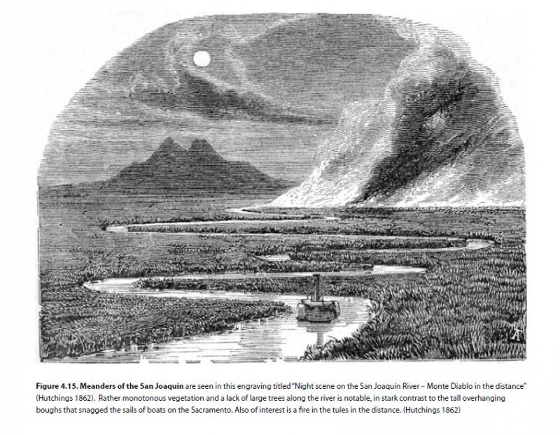 "Meanders of the San Joaquin are seen in this engraving titled ""Night scene on the San Joaquin River – Monte Diablo in the distance"" (Hutchings 1862)."