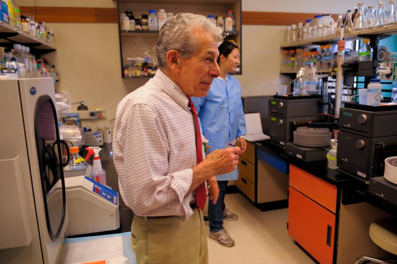 Dr. Demosthenes Pappagianis, the lab where he and members of his research staff are developing a Valley Fever vaccine, inside Tupper Hall at University of California, Davis.