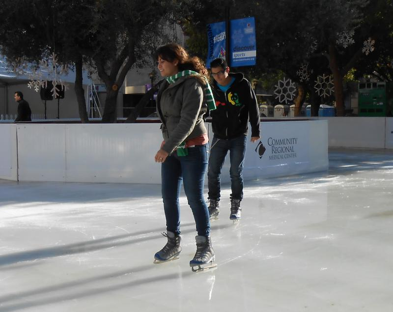 Fresno teens Christina Gurrero and Teo Martinez cautiously navigate the ice