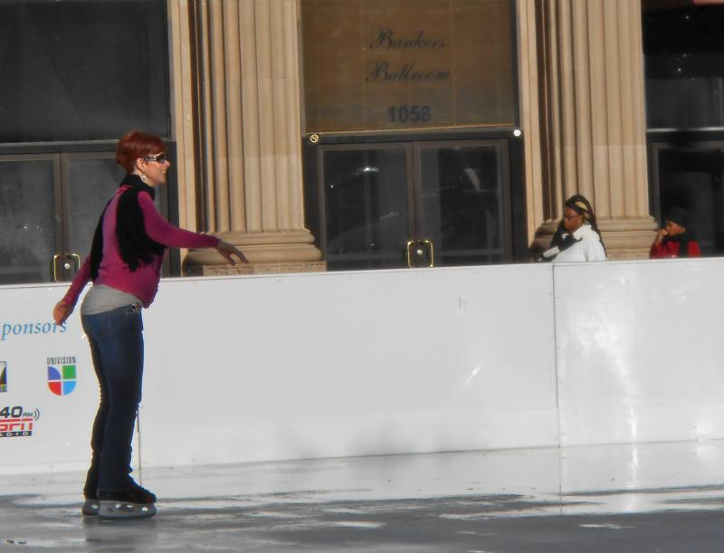 Christy Gordon skates on the new ice rink in downtown Fresno