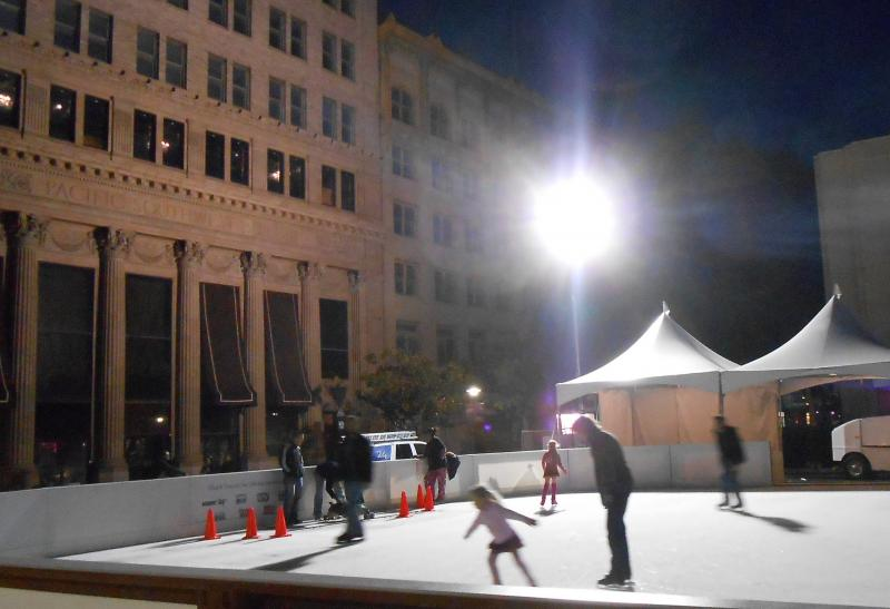 Friday evening brings a crowd of skates to the new ice rink on the Fulton Mall